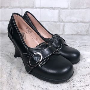 Leather Loafer Style Sharon Wedged Buckle Shoes